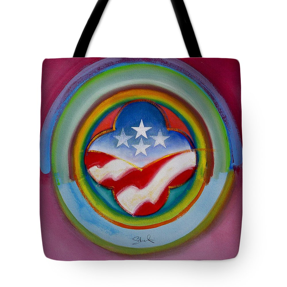 Button Tote Bag featuring the painting Four Star Button by Charles Stuart