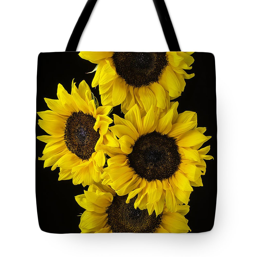Vertical Tote Bag featuring the photograph Four Sunny Sunflowers by Garry Gay