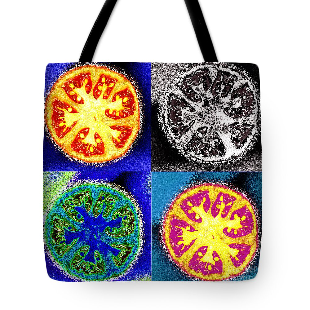 Tomatoes Tote Bag featuring the photograph Four Tomatoes by Nancy Mueller