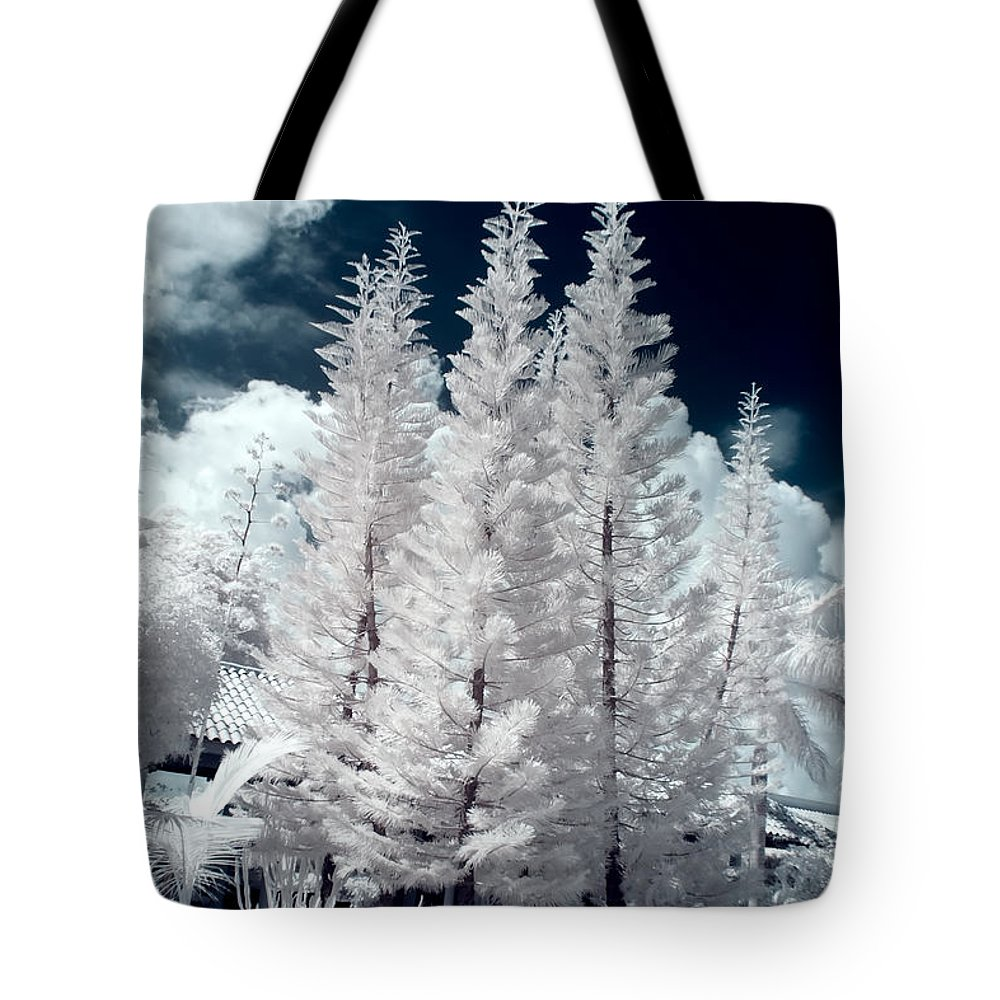 3scape Photos Tote Bag featuring the photograph Four Tropical Pines Infrared by Adam Romanowicz
