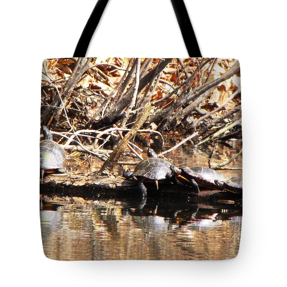 Tote Bag featuring the photograph Four Turtles by Melissa Stoudt