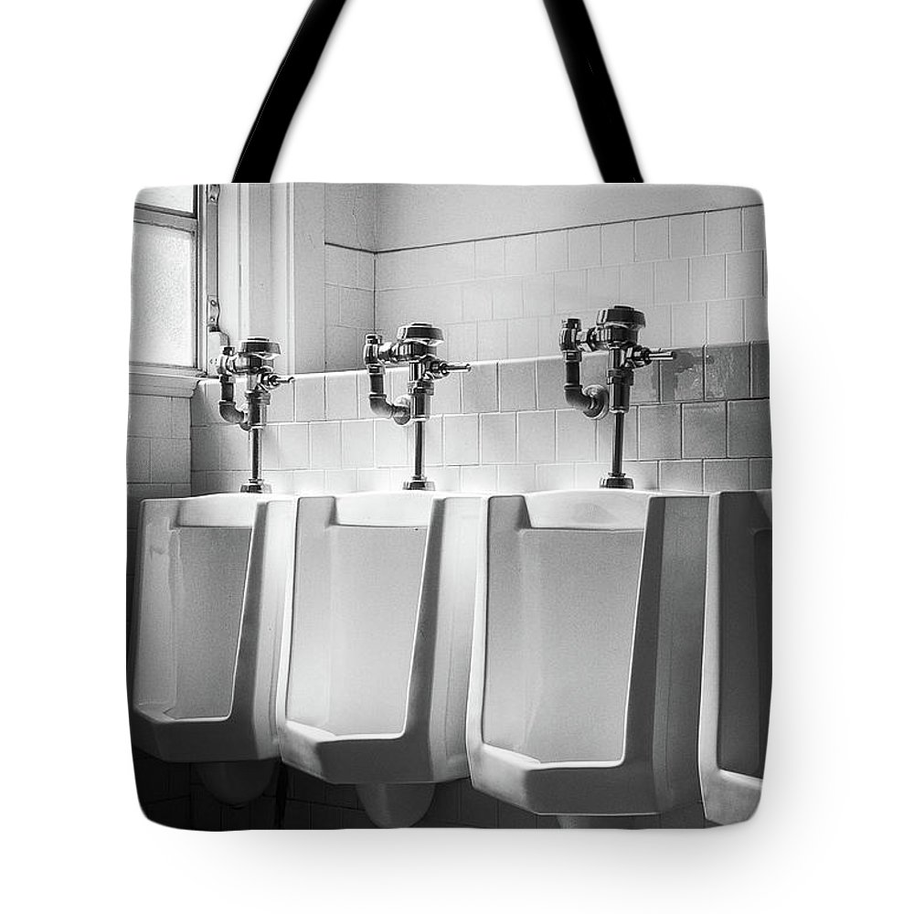 B&w Tote Bag featuring the photograph Four Urinals In A Row Bw by YoPedro