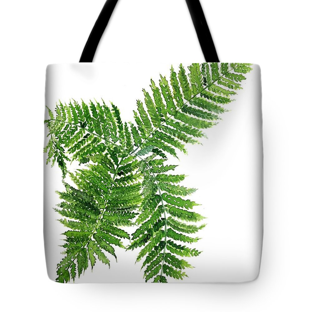 Floral Watercolour Painting Tote Bag featuring the painting Four Way Fern by Garima Srivastava