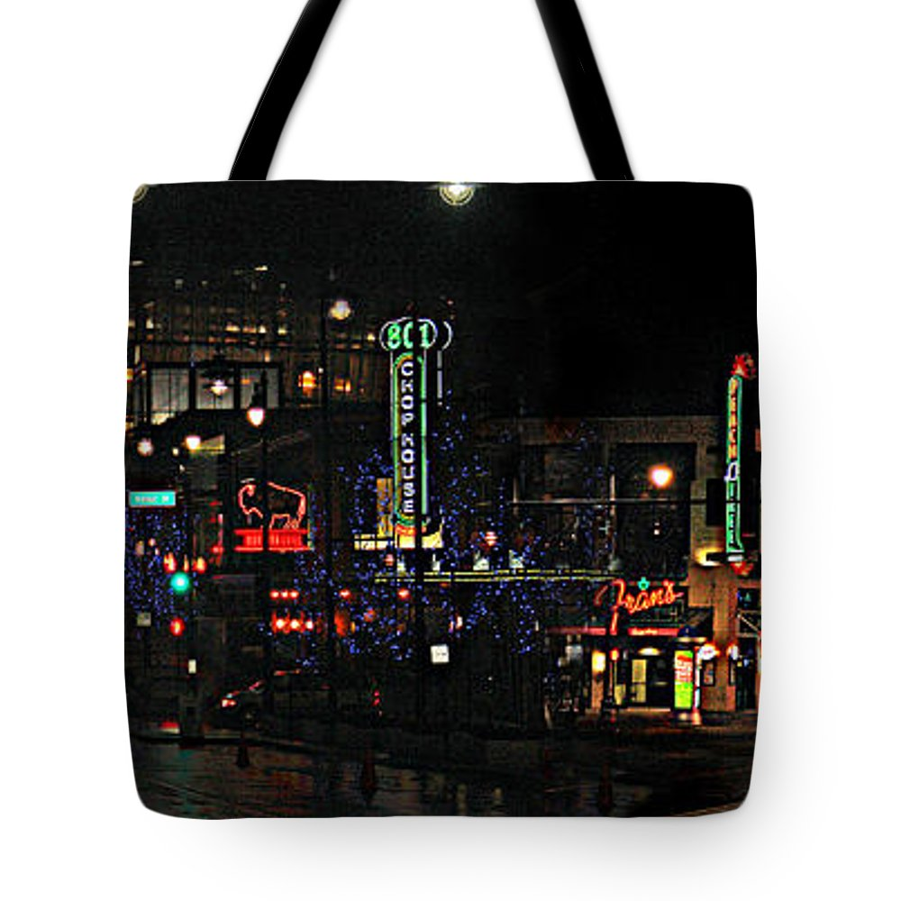 City Scape Tote Bag featuring the photograph Fourteenth and Main by Steve Karol