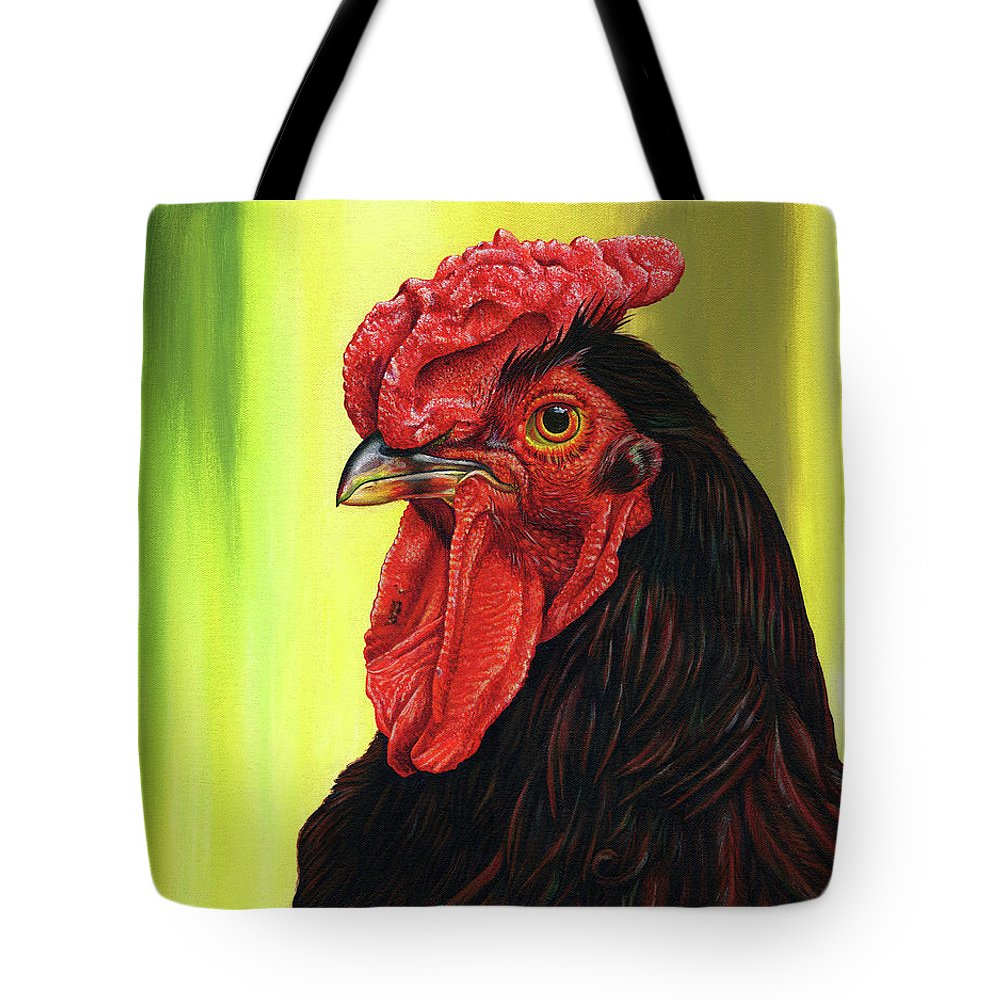 Rhode Tote Bag featuring the painting Fowl Emperor by Cara Bevan