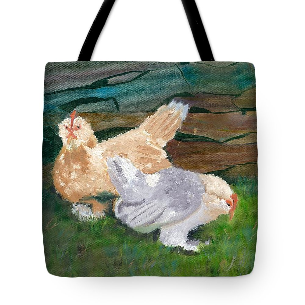 Chickens Bantams Countryside Stonewall Farm Tote Bag featuring the painting Fowl Play by Paula Emery