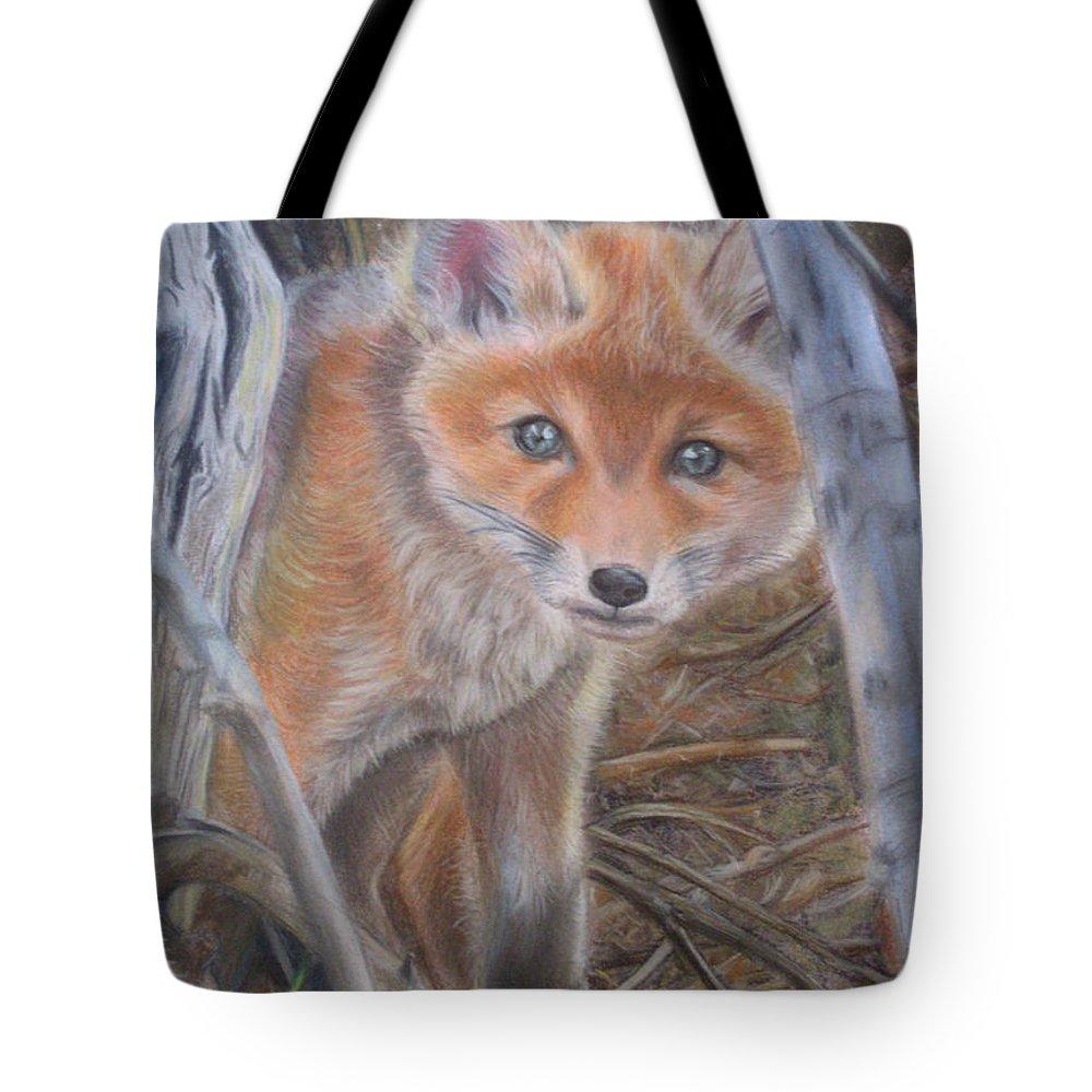 Animal Tote Bag featuring the painting Fox Cub by Irisha Golovnina