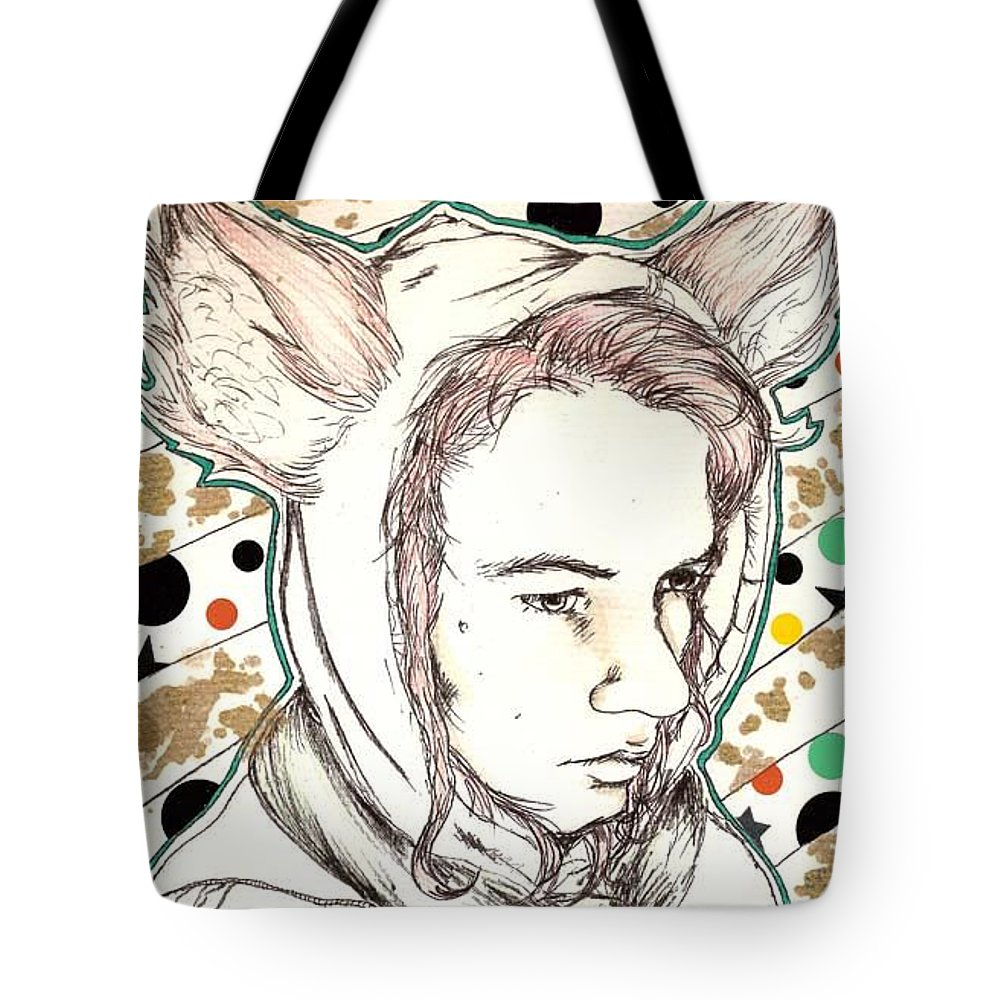 Ears Fow Star Boy Portrait Red Tote Bag featuring the drawing Fox by Freja Friborg