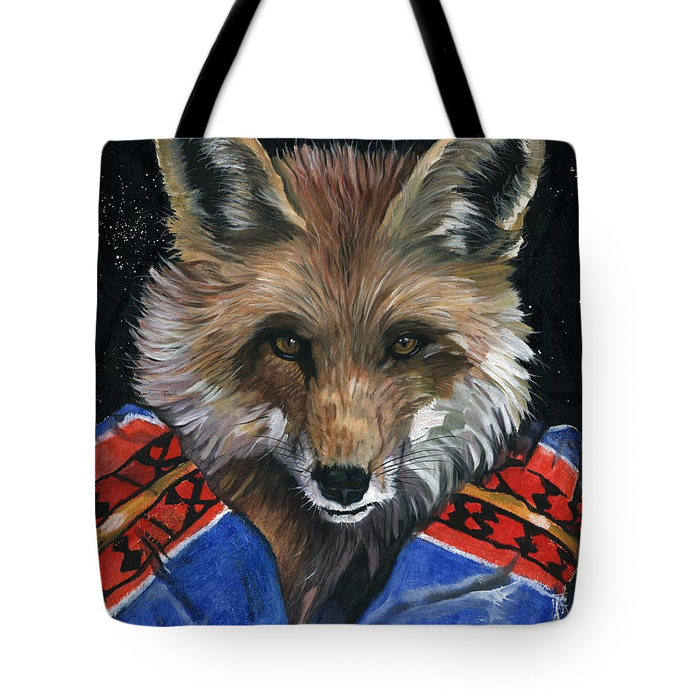 Fox Tote Bag featuring the painting Fox Medicine by J W Baker
