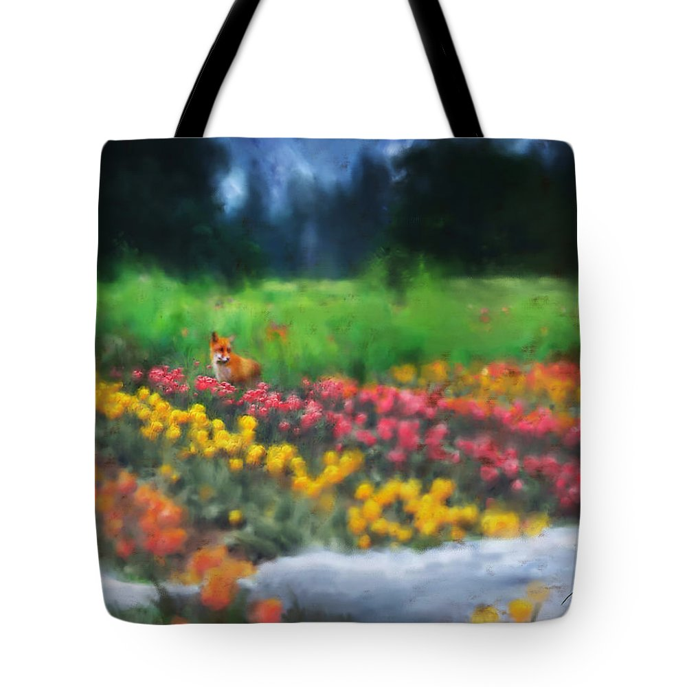 Fox Tote Bag featuring the digital art Fox Watching The Tulips by Stephen Lucas
