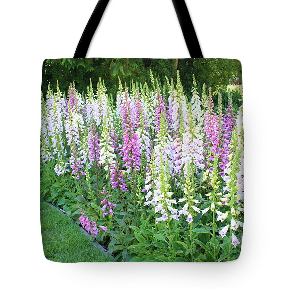 Foxglove Flowers Tote Bag featuring the photograph Foxglove Garden by Carol Groenen