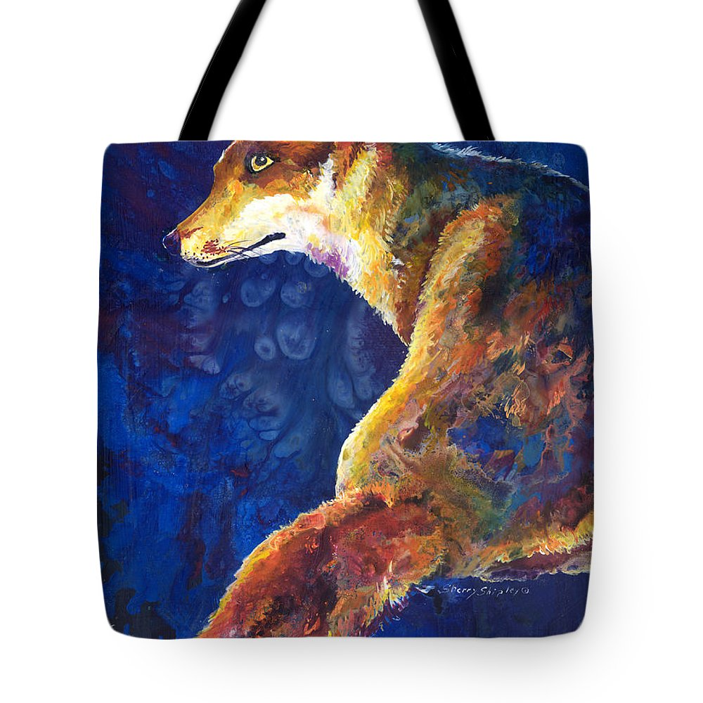 Fox Tote Bag featuring the painting Foxy by Sherry Shipley