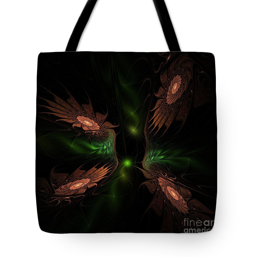 Fractal Tote Bag featuring the digital art Fractal 009 by Deborah Benoit