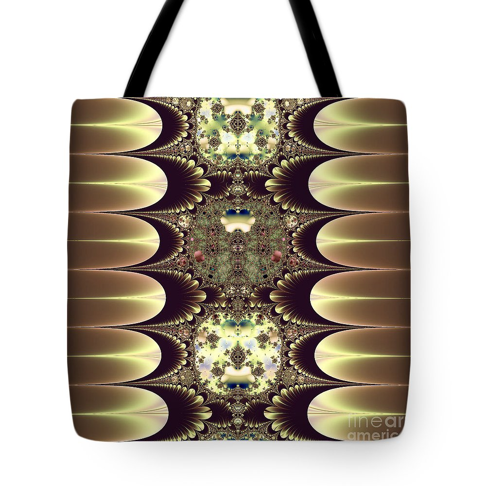 Cameos In Gold And Ivory Tote Bag featuring the digital art Fractal 42 Cameos In Gold And Ivory by Rose Santuci-Sofranko