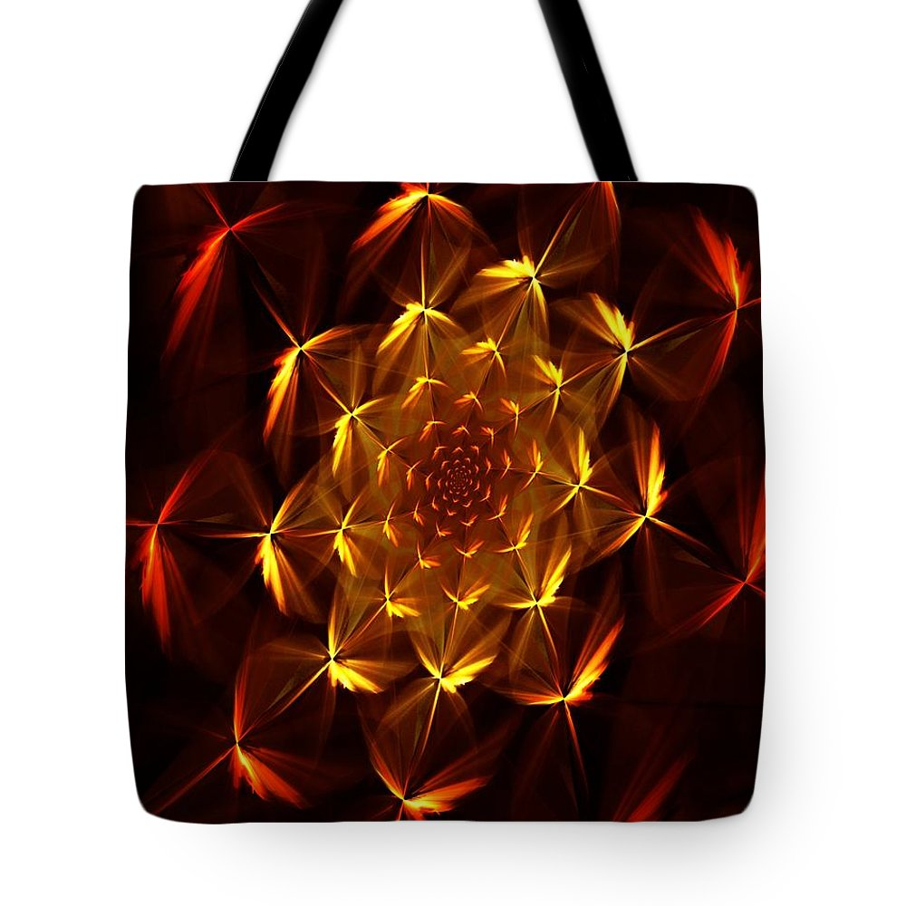 Abstract Tote Bag featuring the digital art Fractal Floral 062610a by David Lane
