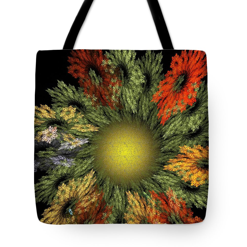 Fantasy Tote Bag featuring the digital art Fractal Floral 12-05-09 by David Lane