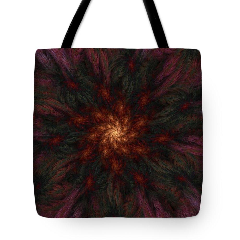 Digital Painting Tote Bag featuring the digital art Fractal Floral Fantasy 02-13-10-b by David Lane