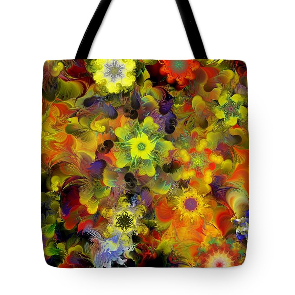 Digital Painting Tote Bag featuring the digital art Fractal Floral Study 10-27-09 by David Lane