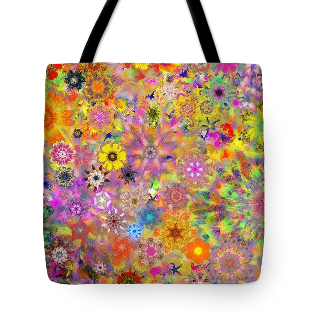Digital Painting Tote Bag featuring the digital art Fractal Floral Study 3 by David Lane