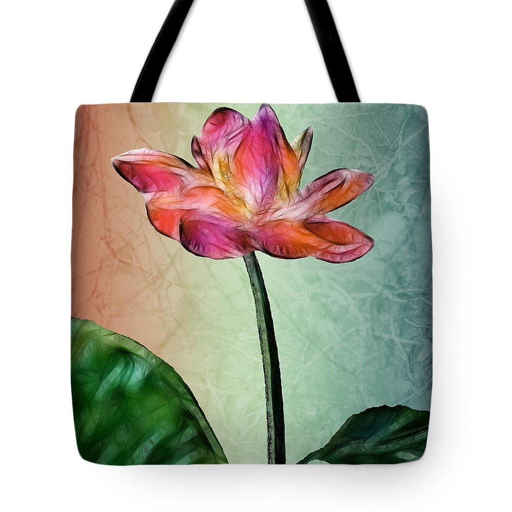 Flower Tote Bag featuring the digital art Fractal Flower by Arline Wagner