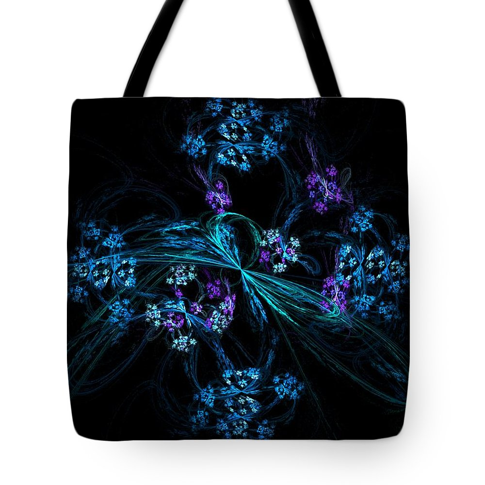Fantasy Tote Bag featuring the digital art Fractal Forget Me Not Bouquet by David Lane