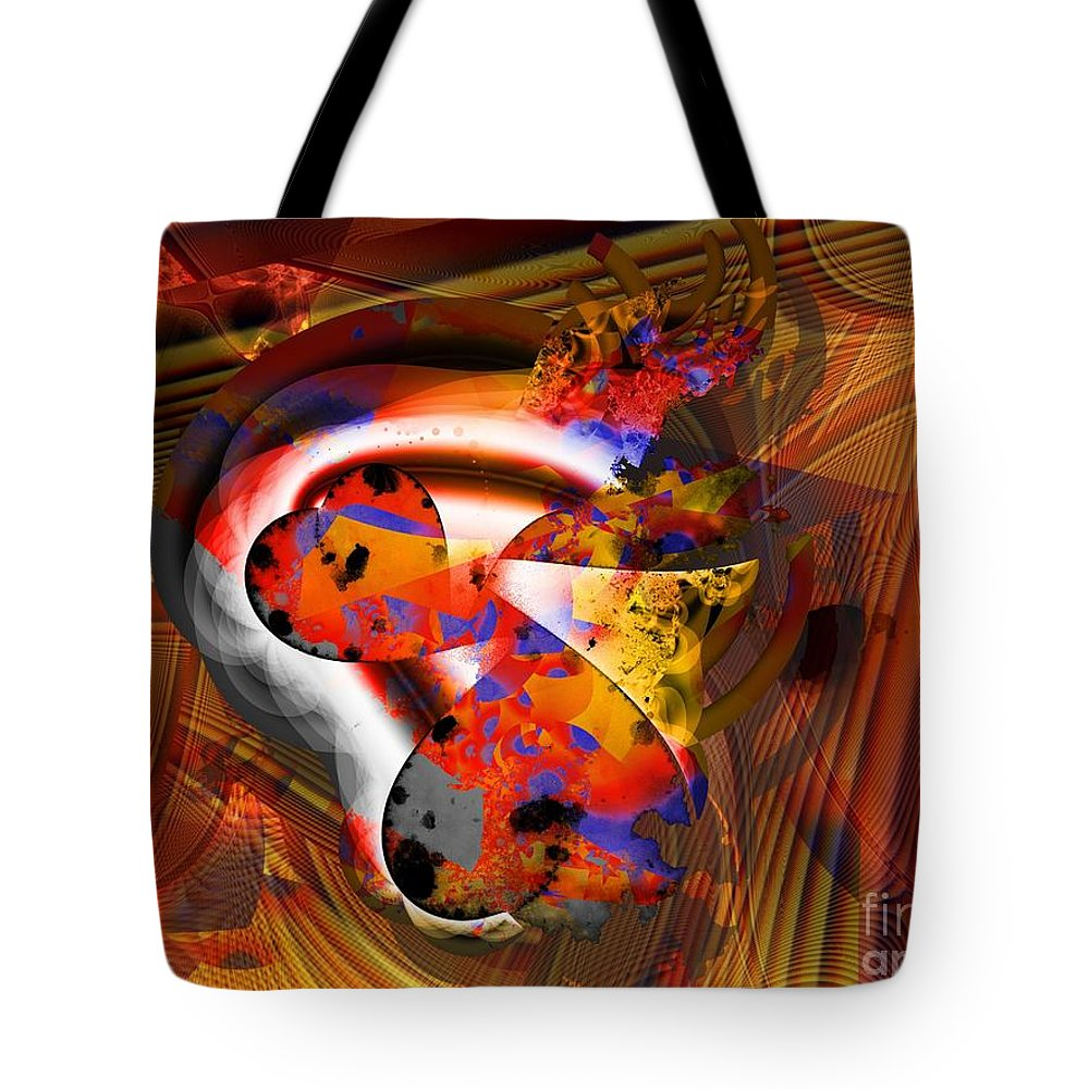 Heart Tote Bag featuring the digital art Fractal Heart by Ron Bissett