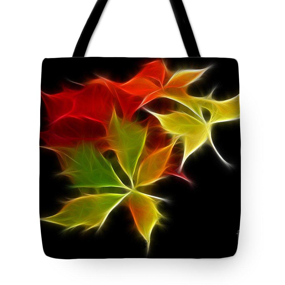 Fall Tote Bag featuring the digital art Fractal Leaves by Teresa Zieba