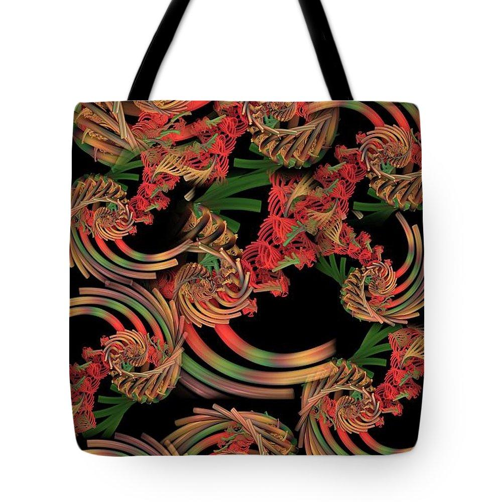 Fractal Tote Bag featuring the digital art Fractal Patterning by Ron Bissett