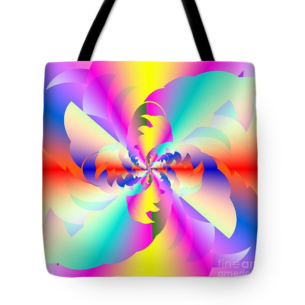 Fractured Fractal Rainbow Tote Bag featuring the digital art Fractal Rainbow by Michael Skinner