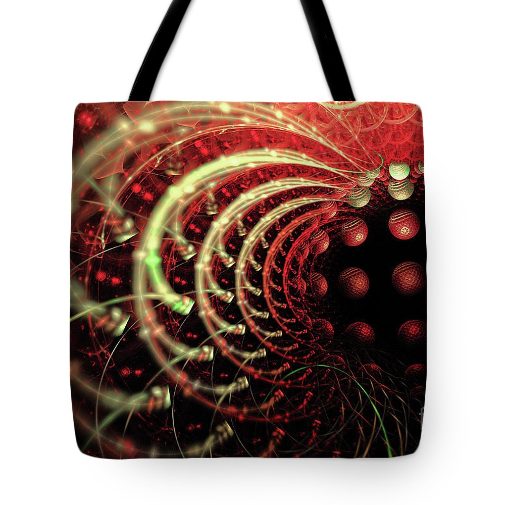 Fractal Tote Bag featuring the digital art Fractal Solar Flare by Ann Garrett