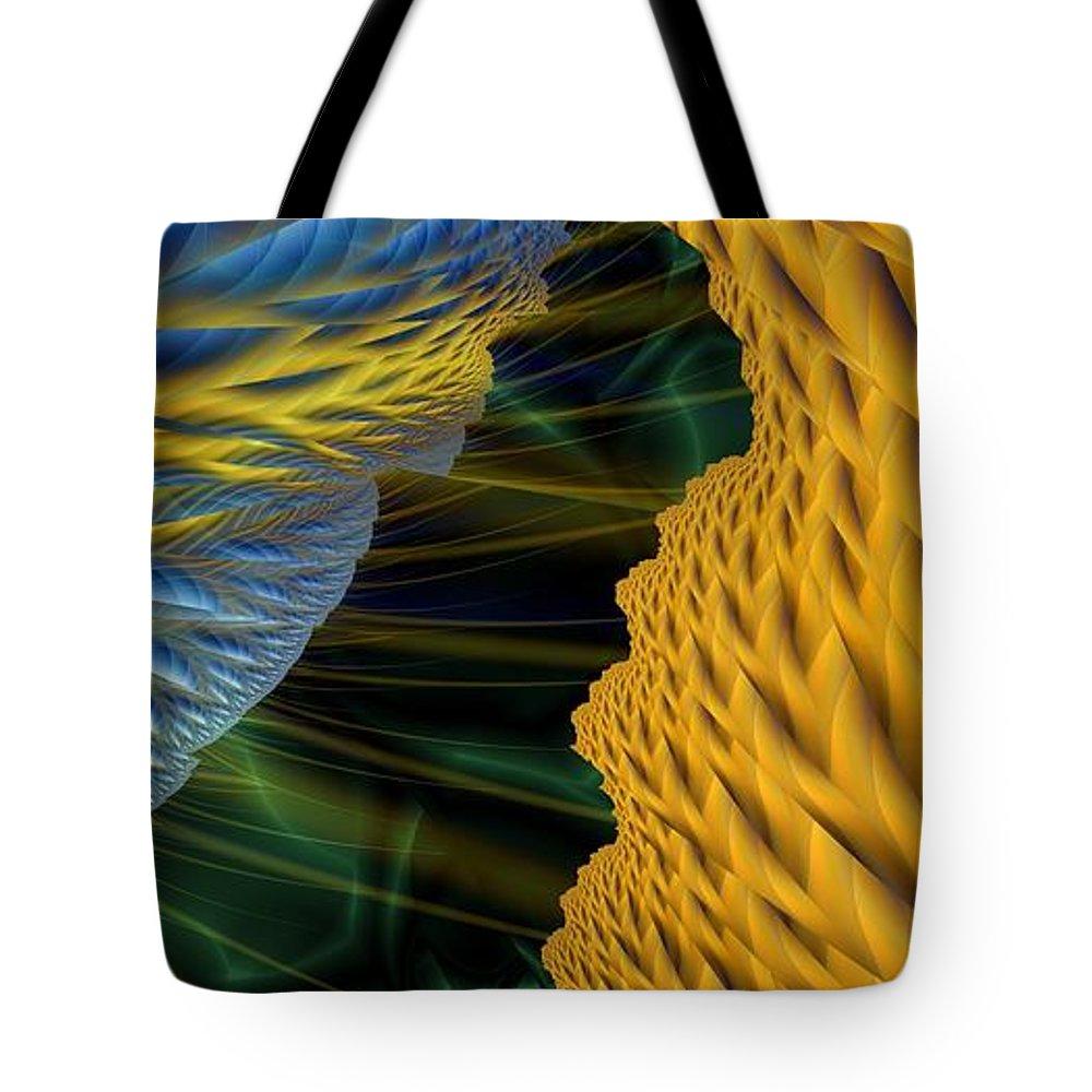 Lightning Tote Bag featuring the digital art Fractal Storm by Ron Bissett