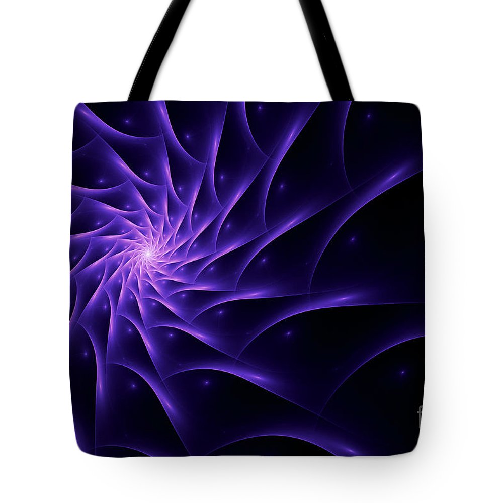 Flame Fractal Tote Bag featuring the digital art Fractal Web by John Edwards
