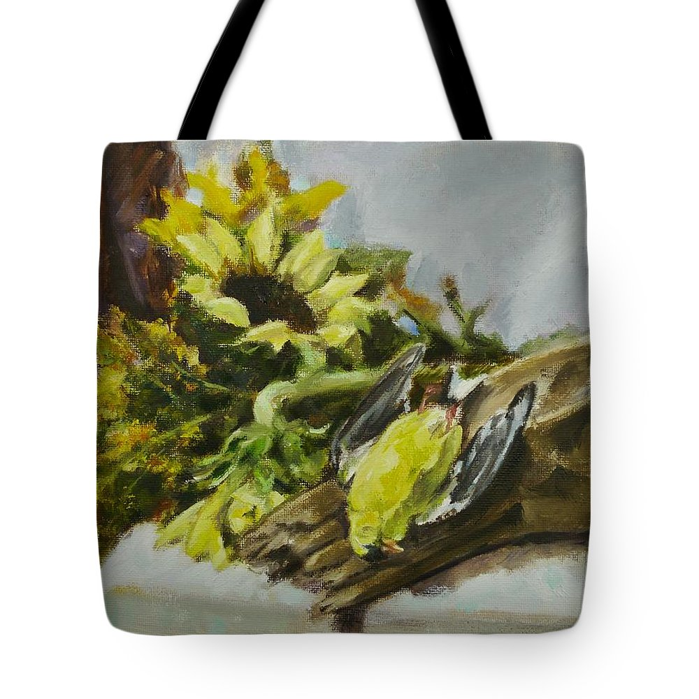 Sunflowers Tote Bag featuring the painting Fragility Of Life by Veronica Coulston