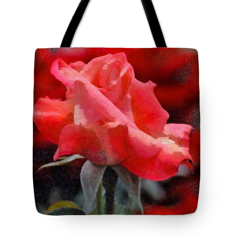 Fragmented Pink Rose Tote Bag featuring the digital art Fragmented Pink Rose by Catherine Lott