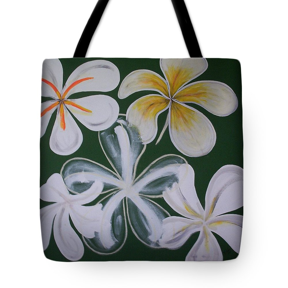 Frangapanni Tote Bag featuring the painting Frangapanni by Joan Stratton