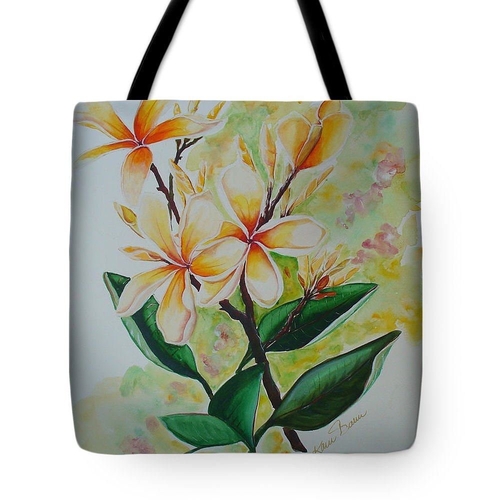Tote Bag featuring the painting Frangipangi by Karin Dawn Kelshall- Best