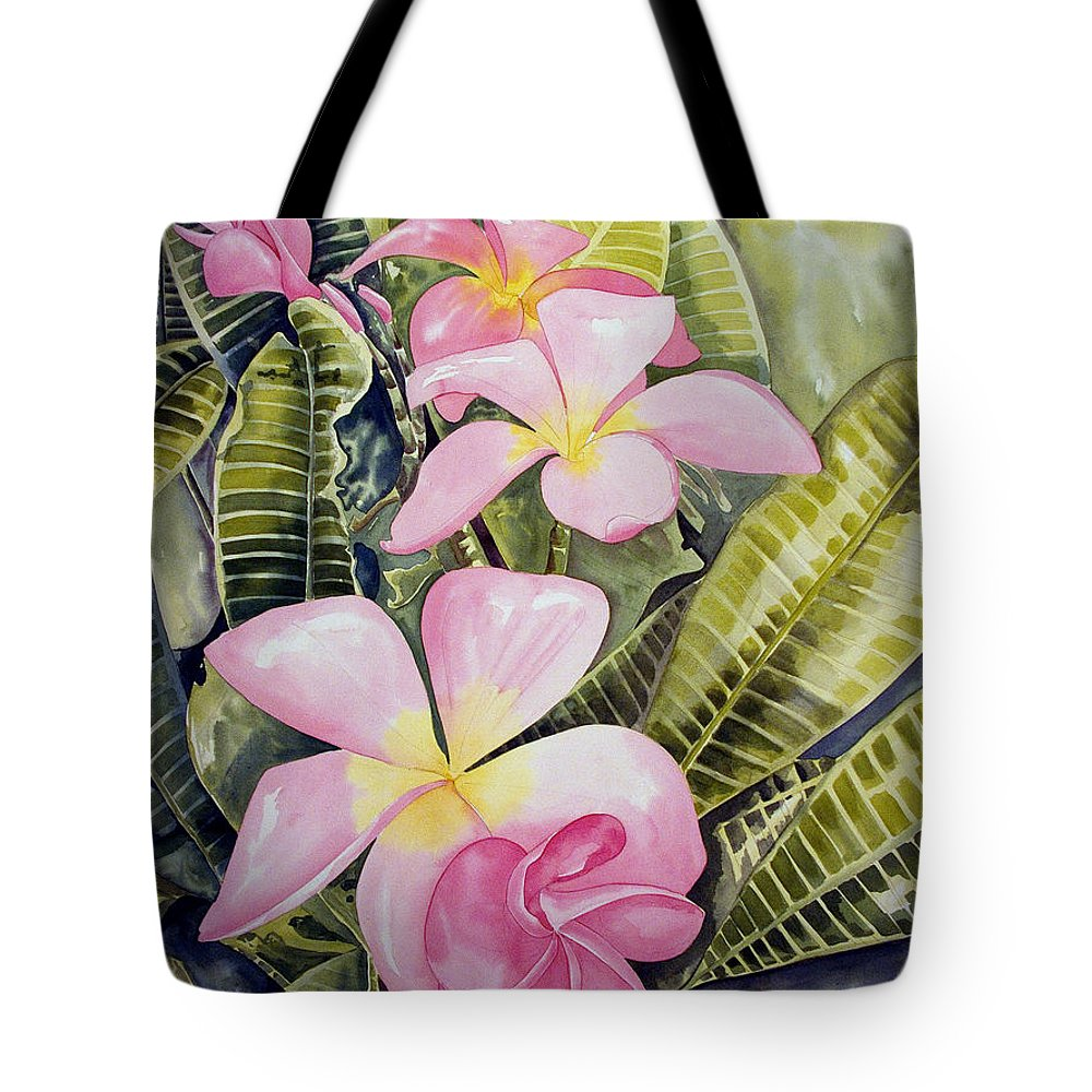 Floral Tote Bag featuring the painting Frangipani by Kandyce Waltensperger