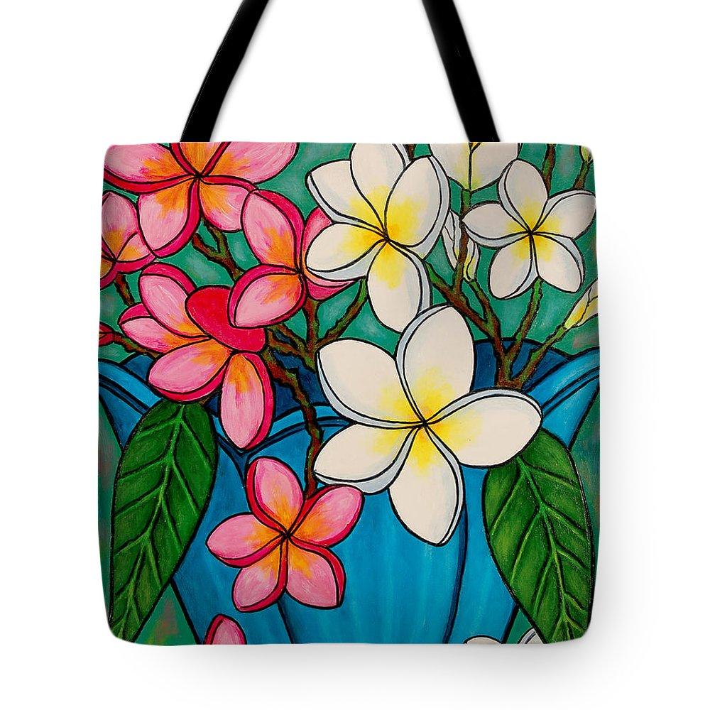 Frangipani Tote Bag featuring the painting Frangipani Sawadee by Lisa Lorenz