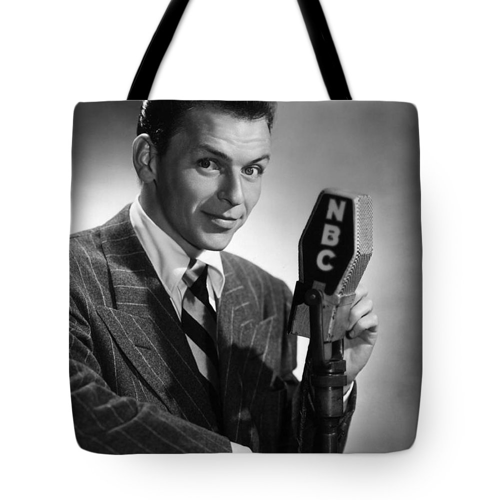 Tote Bag featuring the photograph Frank Sinatra At Nbc Radio Station 1941 by Peter Nowell