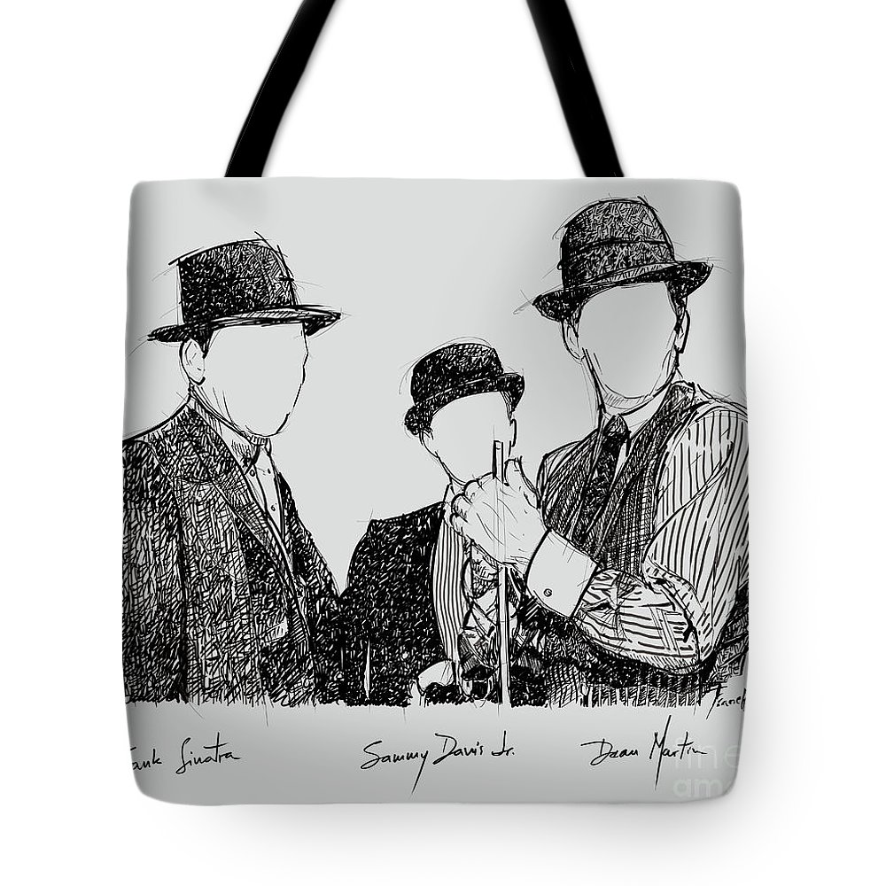Frank Sinatra Tote Bag featuring the drawing Frank Sinatra, Sammy Davis Jr And Dean Martin, A Part Of The Rat Pack by Drawspots Illustrations