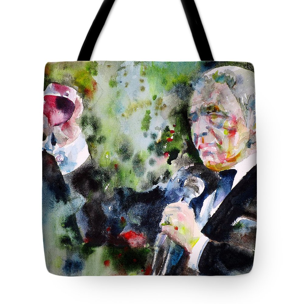 Frank Tote Bag featuring the painting Frank Sinatra - Watercolor Portrait.5 by Fabrizio Cassetta