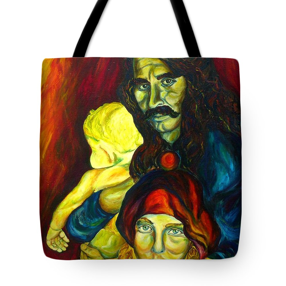 Frank Zappa Tote Bag featuring the painting Frank Zappa  by Carole Spandau