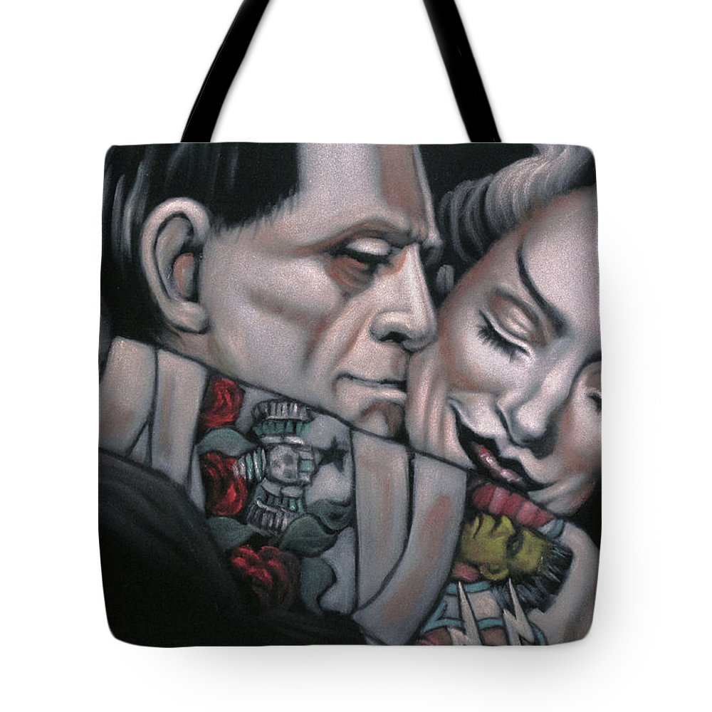 Frankenstein And Wife Tote Bag featuring the painting Frankenstein And Wife by Jesus Gutierrez