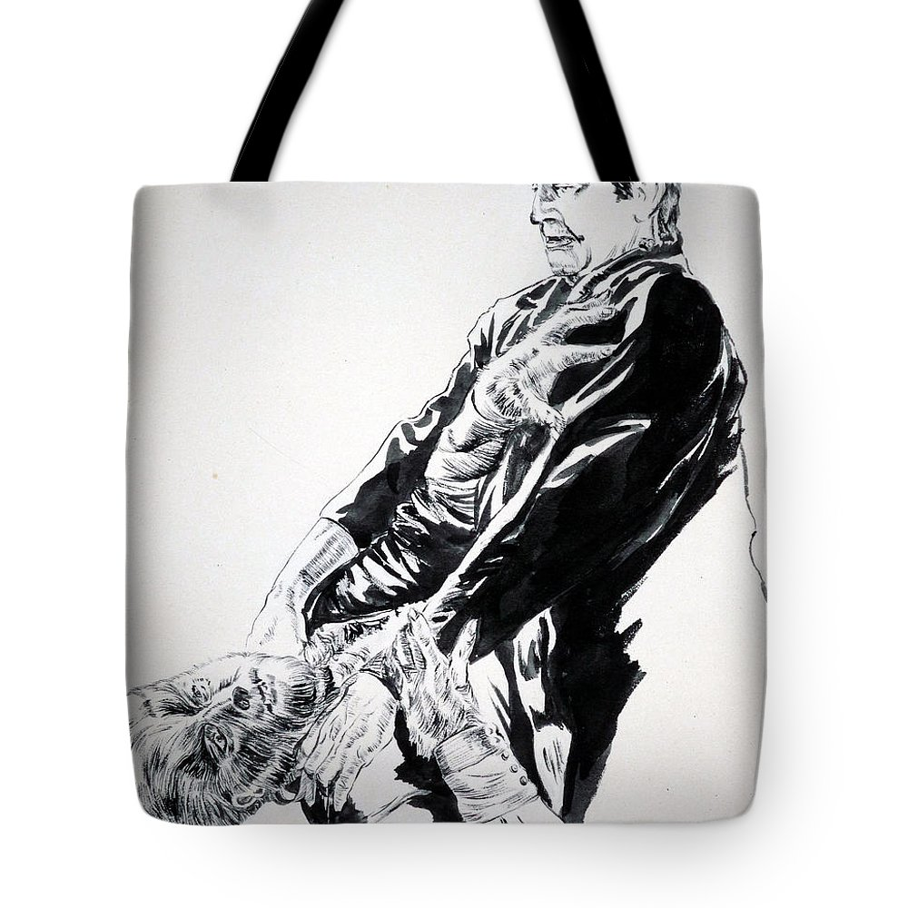 Frankenstein Tote Bag featuring the painting Frankenstein Vs. The Wolfman by Bryan Bustard
