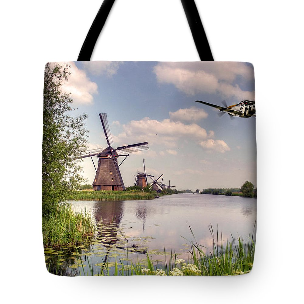 P-51 Tote Bag featuring the digital art Frankie Over The Mills by J Biggadike