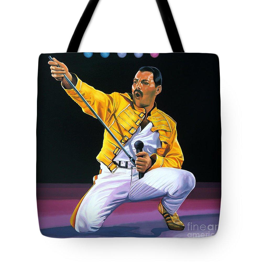 Freddie Mercury Tote Bag featuring the painting Freddie Mercury Live by Paul Meijering