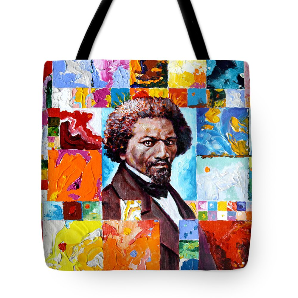 Frederick Douglass Tote Bag featuring the painting Frederick Douglass by John Lautermilch
