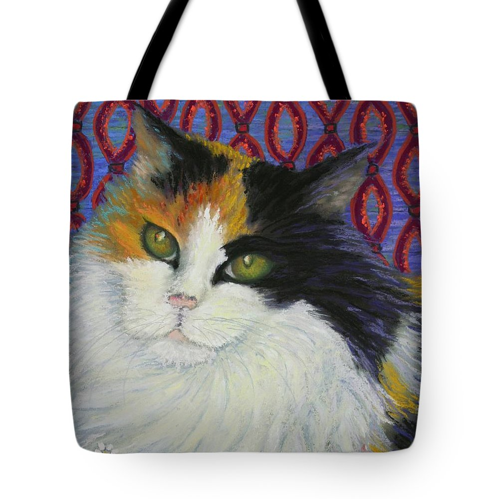 Cat Tote Bag featuring the painting Fred's Cat by Minaz Jantz