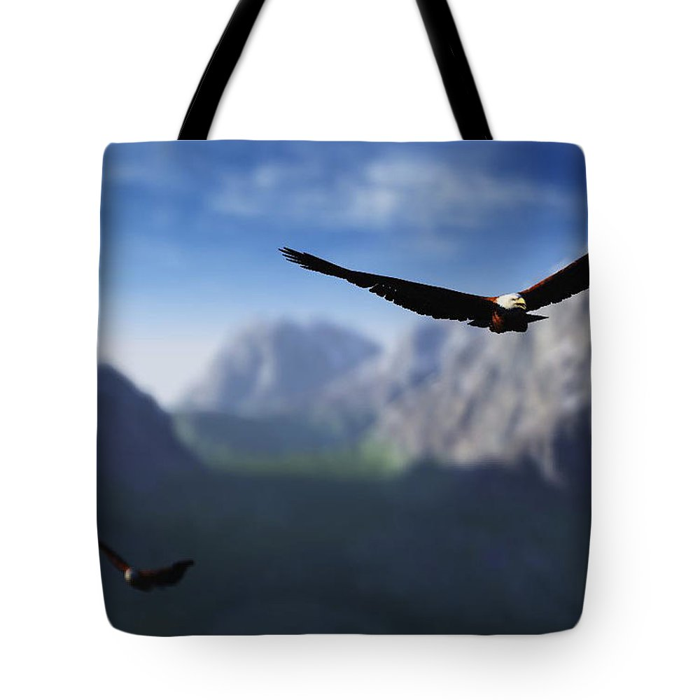 Eagles Tote Bag featuring the digital art Free Bird by Richard Rizzo