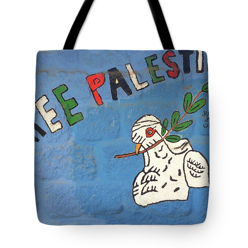 Dove Tote Bag featuring the photograph Free Palestine Peace by Munir Alawi